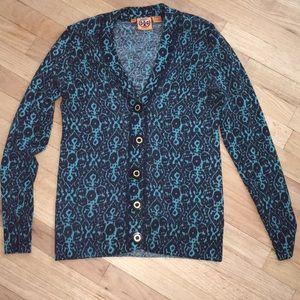 tory burch cardigans teal blue buttons medium m